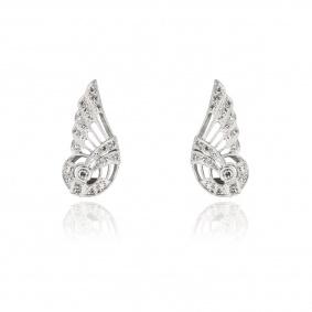 18k White Gold Diamond Set Earclips